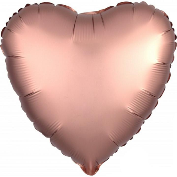 Фольгированный шар сердце Сатин Rose Copper