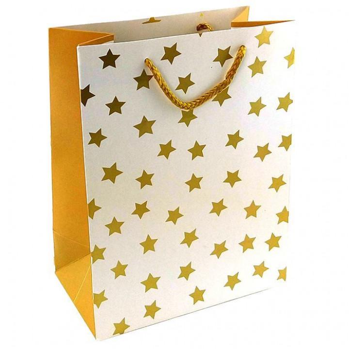 Пакет Золотые звезды на белом