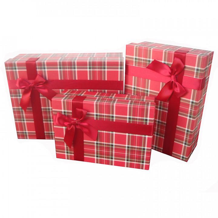 Коробка Строгий вишневый прямоугольник 25,5*18*9 см