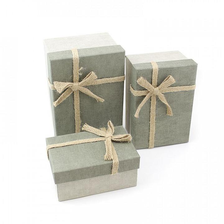 Коробка Рустик Серый с бантом