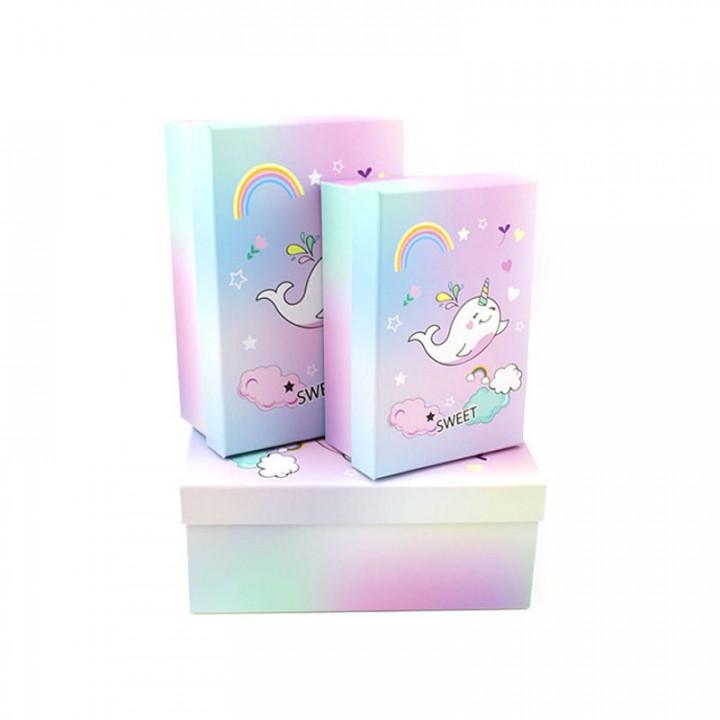 Коробка Радужный нарвал  прямоугольник 18*12*7 см