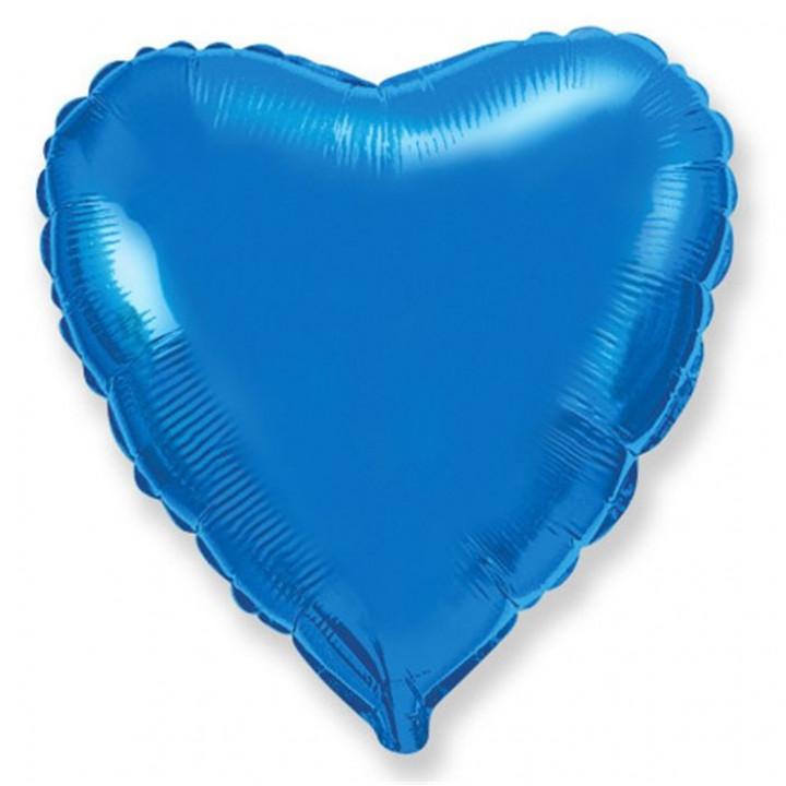 Фольгированный шар сердце металлик синий