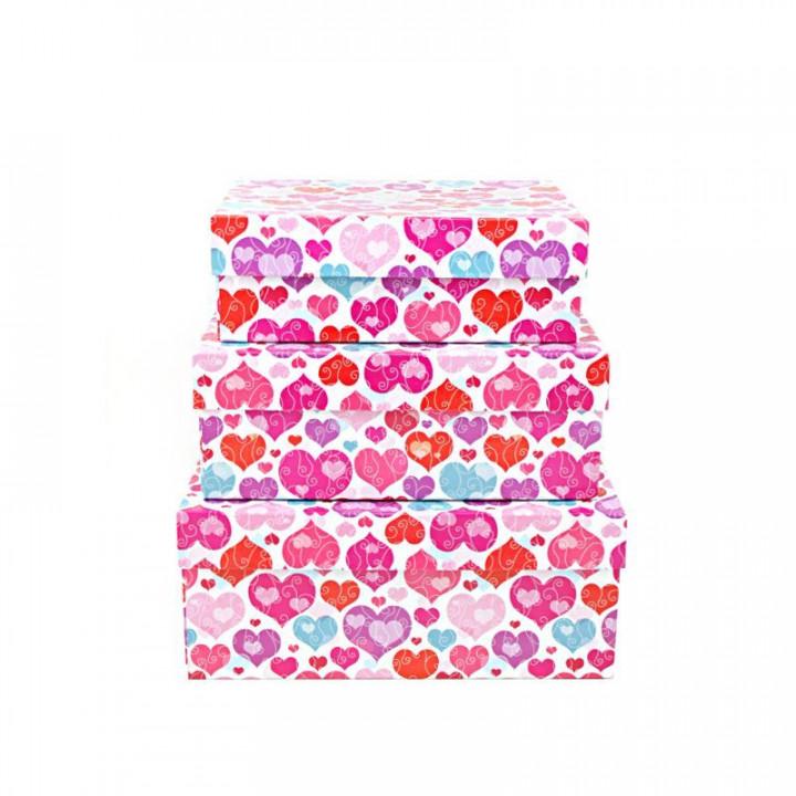 Коробка Яркие сердца прямоугольник