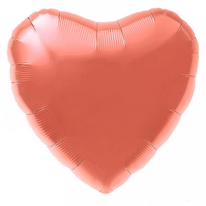 Фольгированный шар сердце Коралл