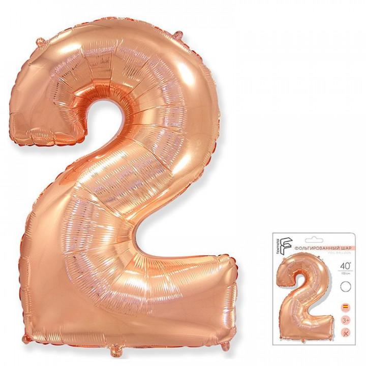 Цифра 2 розовое золото в упаковке