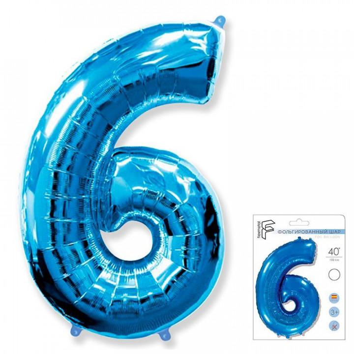 Цифра 6 синий в упаковке