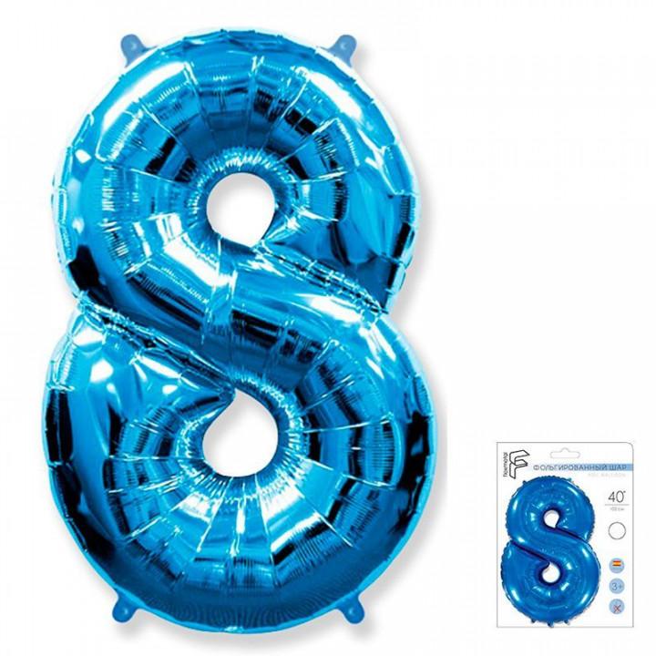 Цифра 8 синий в упаковке