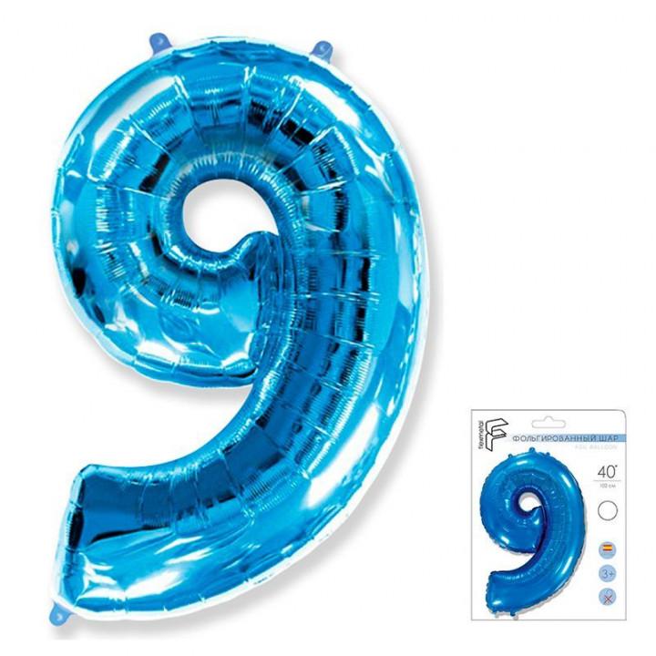 Цифра 9 синий в упаковке