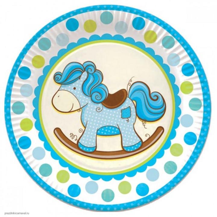 Тарелки ламинированные Лошадка голубая 6шт