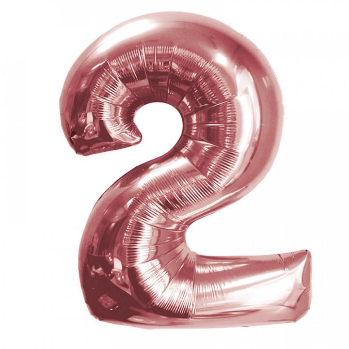 Розовое Золото (40''/102 см) Цифра 2 фольга