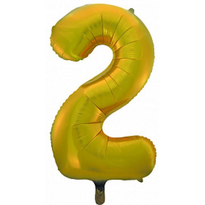 Воздушный шар (34''/86 см) Цифра, 2, Золото, 1 шт.