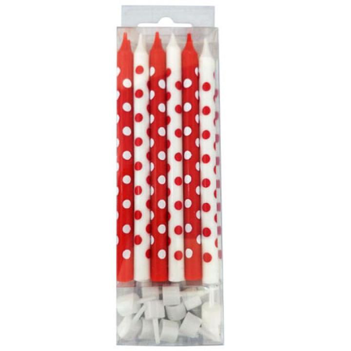 Свечи тортовые Красные и белые в горошек с держателями