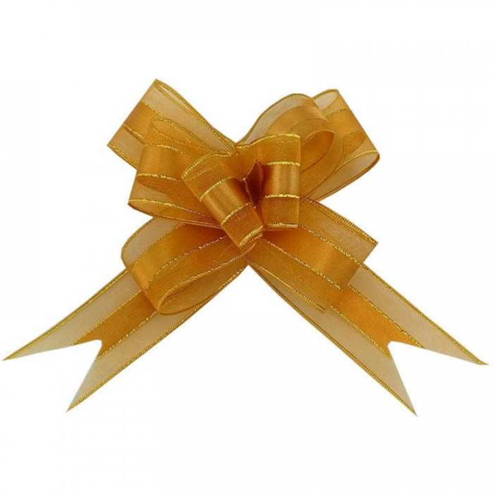 Бант-бабочка с золотой полоской 30 мм Бронза