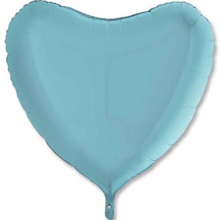 Фольгированный шар сердце пастель синий